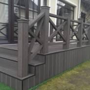 Столб опорный ДПК для ограждений 120х120х3000 (текстура дерева) цвет тёмно-коричневый