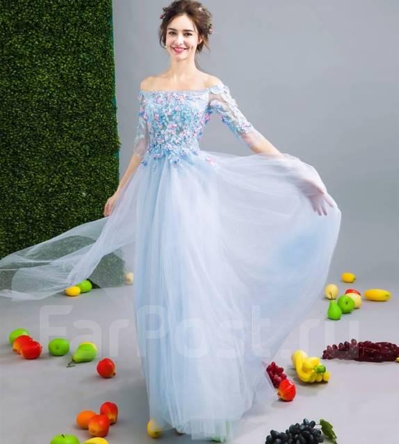 Вечернее платье в пол расшитое цветами и кружевом В Наличии ... 709fb4a0c23