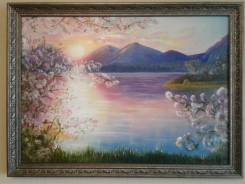 """Продаю картину. Пейзаж. Холст. Масло. 50Х70 см. """"Яблоневый рассвет""""."""