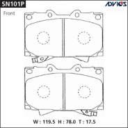 Колодки тормозные F TOYOTA LAND CRUISER J100 (98-07), LEXUS LX470 UZJ100 (02-07) ADVICS SN101P