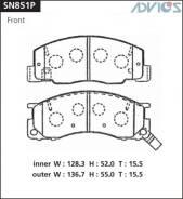 Колодки тормозные F TOYOTA LITE ; TOWN ACE VAN R50 ; R52 (96-07), DAIHATSU DELTA VAN R ADVICS SN851P