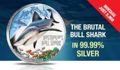 Тувалу 1 доллар 2017 Акула Bull Shark Серия Смертельные и Опасные