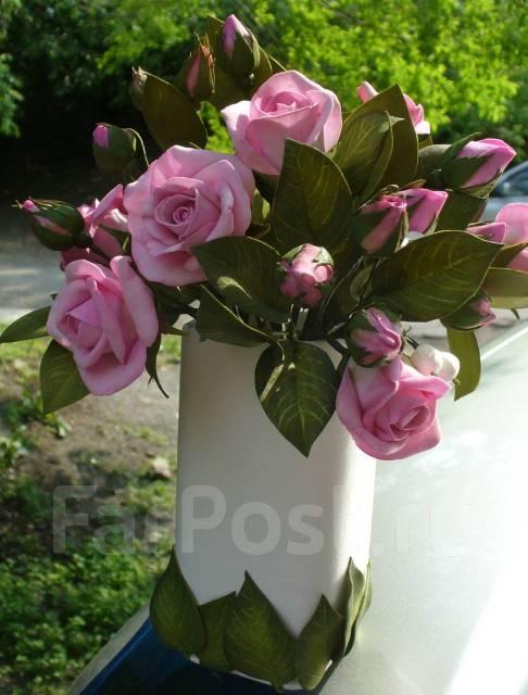Розовые розы, ручная работа
