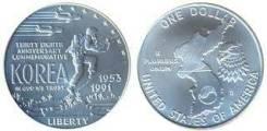 """США 1 доллар № 9 1991 год """"38 годовщина окончания войны в Корее"""" Proof"""