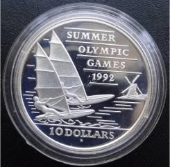 10 долларов.1992г. Барбадос. Олимпиада/Парусный спорт. Серебро. Proof.