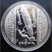 1 крона.2003г. О-в Мэн. Олимпиада/Парусный спорт. Серебро. Proof.