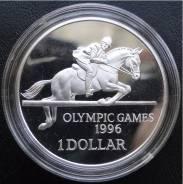 1 доллар.1996г. Бермуды. Олимпиада/Конкур. Серебро. Proof.