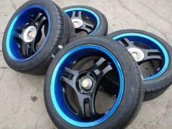 Неоновые трёшки от Super Advan Racing на летних шинах разноширы R17. 8.0/9.0x17 5x114.30 ET35/38