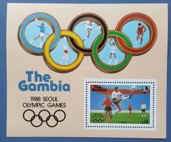 1987 Гамбия. Спорт. ОИ в Сеуле. Блок и 4 марки. Чистые