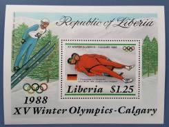 1987 Либерия. Спорт. Зимние ОИ в Калгари. Блок и 5 марок. Чистые
