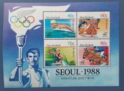 1988 Новая Зеландия. Спорт ОИ в Сеуле. Блок. Чистый