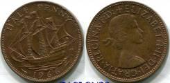 1/2 пенни 1966 Великобритания Корабль Парусник