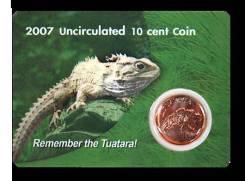 Новая Зеландия 10 центов 2007 Ящерица Tuatara Тираж 3,000 Карточка