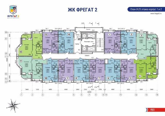 1-комнатная, улица Нейбута 8. 64, 71 микрорайоны, застройщик, 26кв.м.