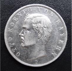 3 марки. 1909г D. Бавария/Германия. Отто. Серебро. VF+