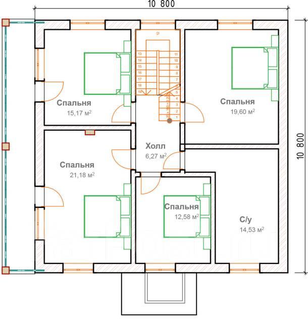 046 Za AlexArchitekt Двухэтажный дом в. 100-200 кв. м., 2 этажа, 7 комнат, бетон