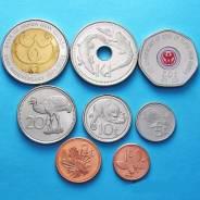 Папуа Новая Гвинея набор 8 монет 2001 2008 Животные UNC