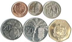 Самоа набор 6 монет 2000 2002 Флора UNC