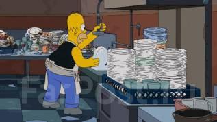 Мойщик посуды-уборщик. Кухонный работник, возможно студент. Китайский рынок