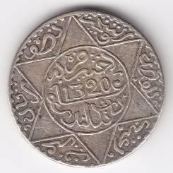 Марокко - королевство 1/2 риала 1902 Ln (1320) Абд Аль-Азиз Серебро