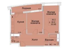 2-комнатная, улица Советская 1/2. королев, агентство, 63,0кв.м.