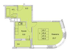 1-комнатная, улица Советская 1/2. королев, агентство, 47кв.м.