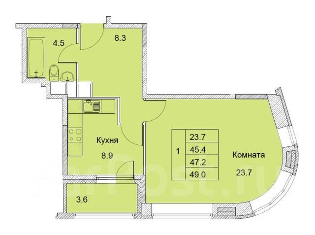 1-комнатная, улица Советская 1/2. королев, агентство, 47,0кв.м.