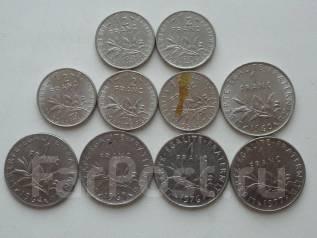 Франция 1/2 и 1 франк 10 монет. Без повторов! Торги с 1 рубля!