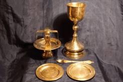 """Старинный Евхаристический набор из шести предметов: серебро """"84"""" пробы. Оригинал"""