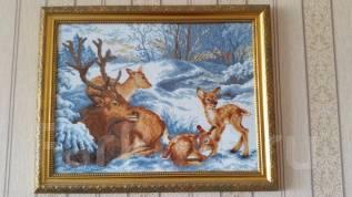 """Продам картину """"Олени"""". вышивка крестиком."""