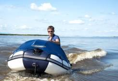 Лодка ПВХ Gladiator D400DP Фанерный пайол + Тент Бело-синяя. Год: 2017 год, длина 4,00м., двигатель подвесной, 30,00л.с., бензин