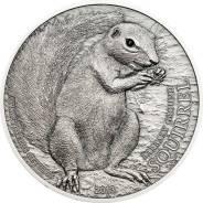 Большая красивая монета Кристаллы Земляной суслик Барбари + капсула!