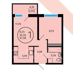 1-комнатная, Алма-Атинская улица, 2/8. Юбилейный, частное лицо, 38 кв.м.