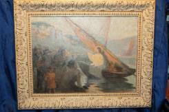 """Старинная картина """"Проповедь Иисуса Христа на Тивериадском озере"""". 19в. Оригинал"""