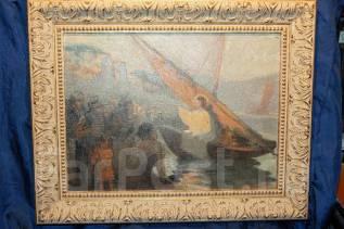 Старинная картина «Проповедь Иисуса Христа на Тивериадском озере». XIXв. Оригинал