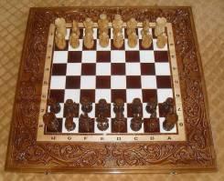 Шикарные резные шахматы из дерева ручной работы VIP
