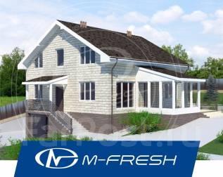 M-fresh Pegas-зеркальный (Посмотрите проект дома с верандой! ). 300-400 кв. м., 1 этаж, 5 комнат, бетон