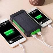Мощное солнечное зарядное устройство, 10000 mAh (зелёное)