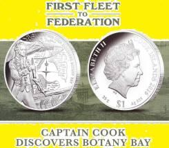 О-ва Кука 1 доллар 2016 Captain Cook Кук Корабль. Парусник