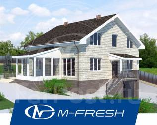 M-fresh Pegas (Проект дома с цоколем для жизни на природе! ). 300-400 кв. м., 1 этаж, 5 комнат, бетон