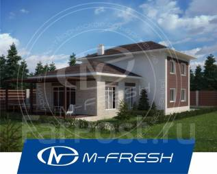 M-fresh Bora-Bora (Посмотрите свежий проект с террасой и витражами! ). 200-300 кв. м., 2 этажа, 4 комнаты, бетон