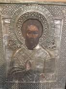 Икона Целитель Антипий 19в 31х26 ковчег. Оригинал