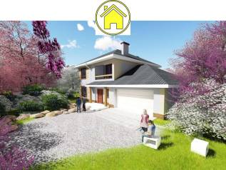 Az 1200x AlexArchitekt Продуманный дом с гаражом в. 200-300 кв. м., 2 этажа, 5 комнат, комбинированный