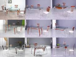 Распродажа стеклянных столов с деревянной отделкой. Акция длится до 31 августа