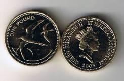 Остров Святой Елены и Вознесения 1 фунт 2003 Птица Чайка. Unc