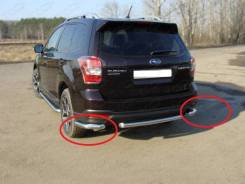 Защита заднего бампера (уголки) Subaru Forester 2013+ (Subfor13-24). Subaru Forester, SJG, SJ5, SJ, SJ9 Двигатели: FB20, FA20F, FB25, FA20, FB25B