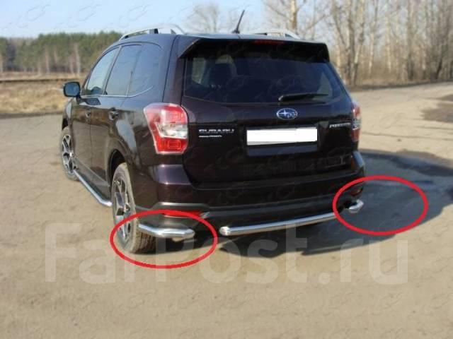 Защита заднего бампера (уголки) Subaru Forester 2013+ (Subfor13-24). Subaru Forester, SJ, SJ5, SJ9, SJG Двигатели: FA20, FA20F, FB20, FB204, FB20B, FB...