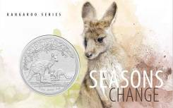 Австралия 1 доллар 2017 Кенгуру Чекан - FrUnc Серебро 1 унция