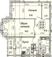 2-комнатная, переулок Санитарный 3. Железнодорожный, частное лицо, 69 кв.м.