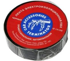Изолента Terminator черная огенупорная 19mm х 20 m арт 61308